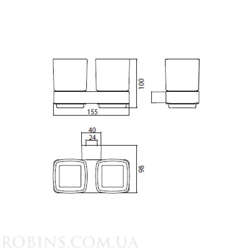 Стакан двойной для зубных щеток EMCO Loft (0525 001 00), фото 2