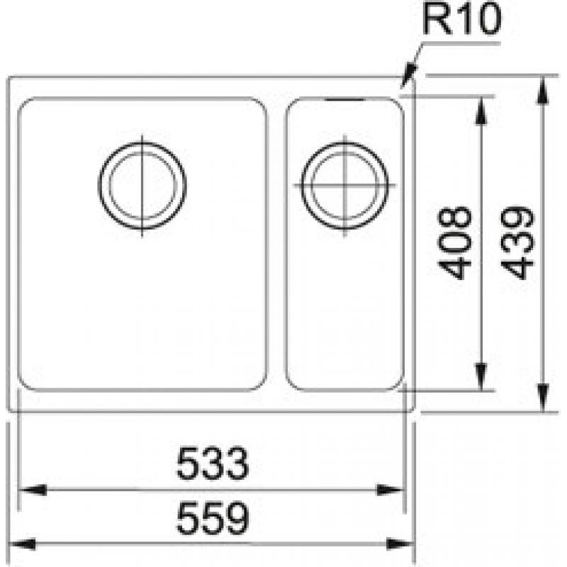 Мойка кухонная, чёрная, 559х439 мм FRANKE Sirius SID 160 (125.0395.609), фото 2
