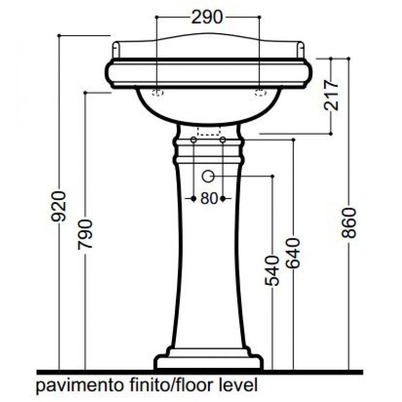 Умывальник с одним отверстием под смеситель 55 см KERASAN Retro (104501), фото 5