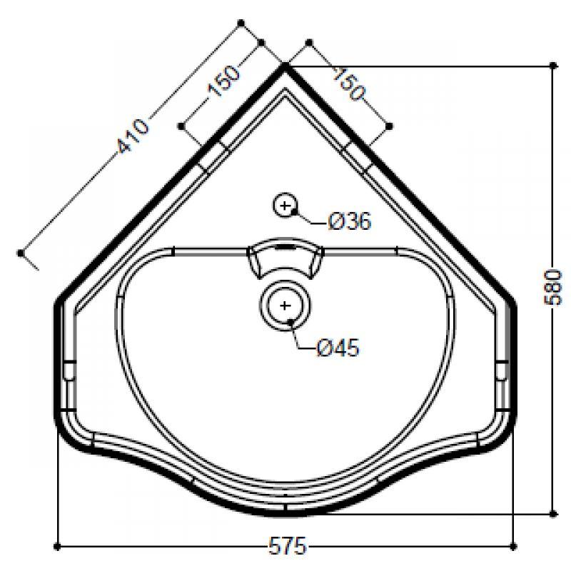 Умывальник угловой 58 см KERASAN Retro (103201), фото 2