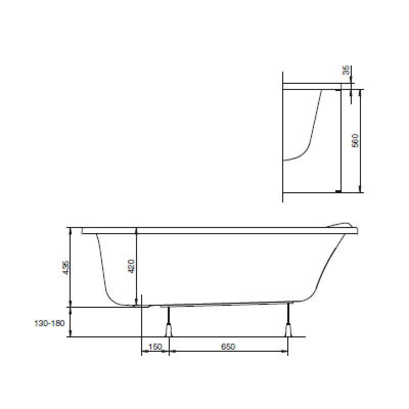 Ванна акриловая с ножками правая 150х95 KOLO Mystery (XWA3750000), фото 4