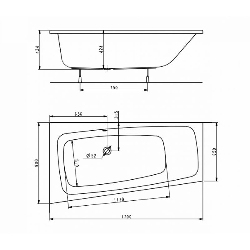 Ванна акриловая 170x90 левая KOLO Split (XWA1671000), фото 2