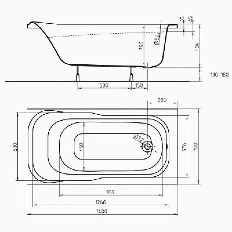 Ванна акриловая 140 см KOLO Sensa (XWP354000N), фото 4