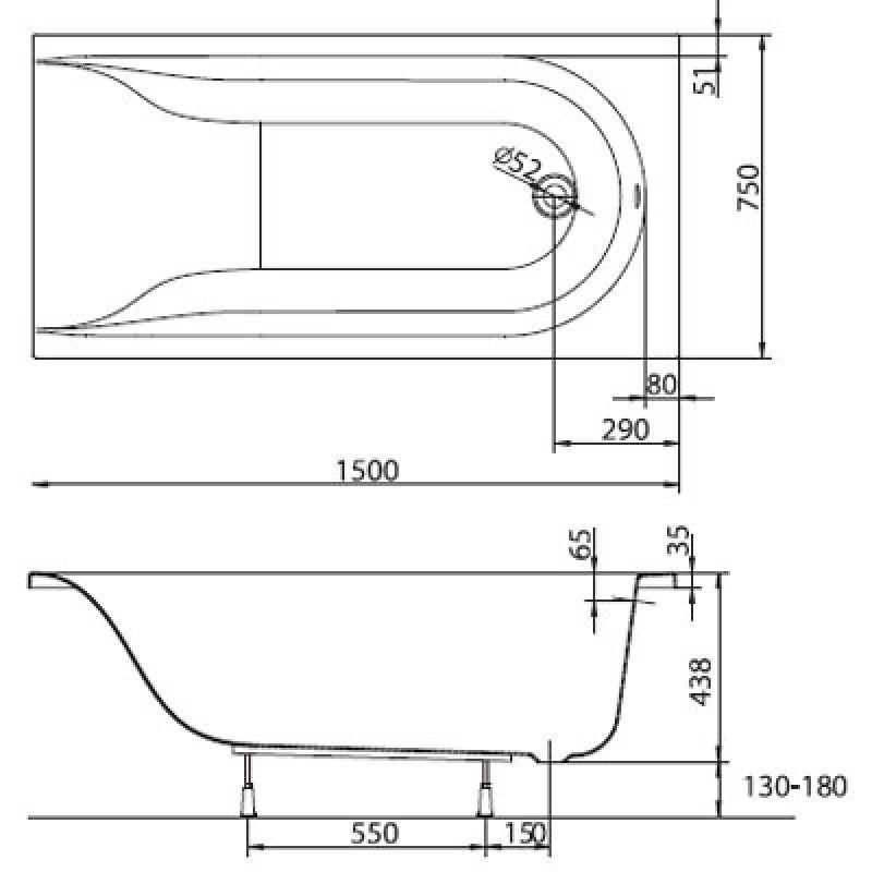 Ванна акриловая прямоугольная с ножками 150x75 KOLO Mirra (XWP3350000), фото 3