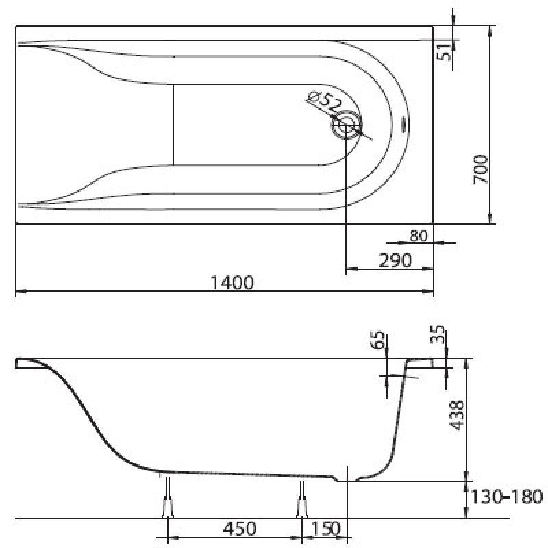 Ванна акриловая с ножками 140x70 KOLO Mirra (XWP3340000), фото 3