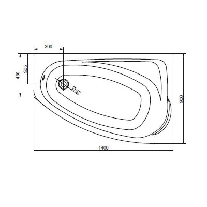 Ванна акриловая с ножками левая 140х90 KOLO Mystery (XWA3741000), фото 3