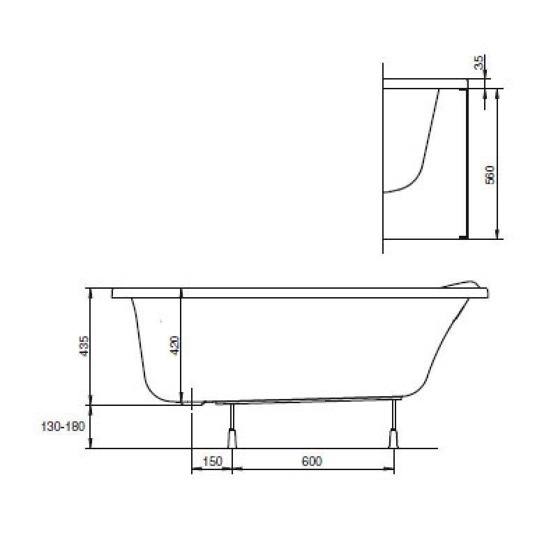Ванна акриловая с ножками левая 140х90 KOLO Mystery (XWA3741000), фото 4