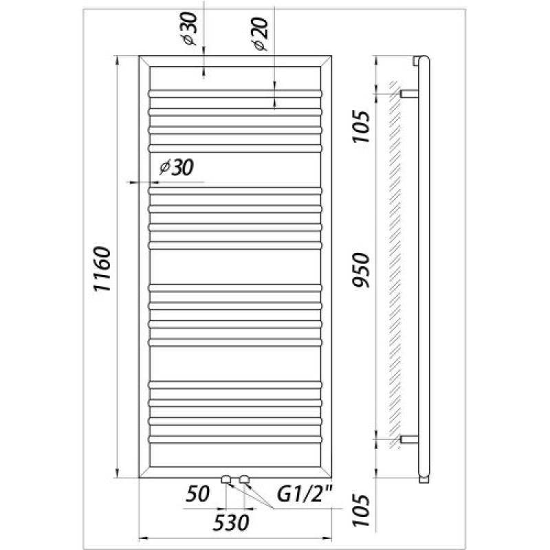 Полотенцесушитель водяной, 1160х530 мм MARIO Донна (4820111354054), фото 3
