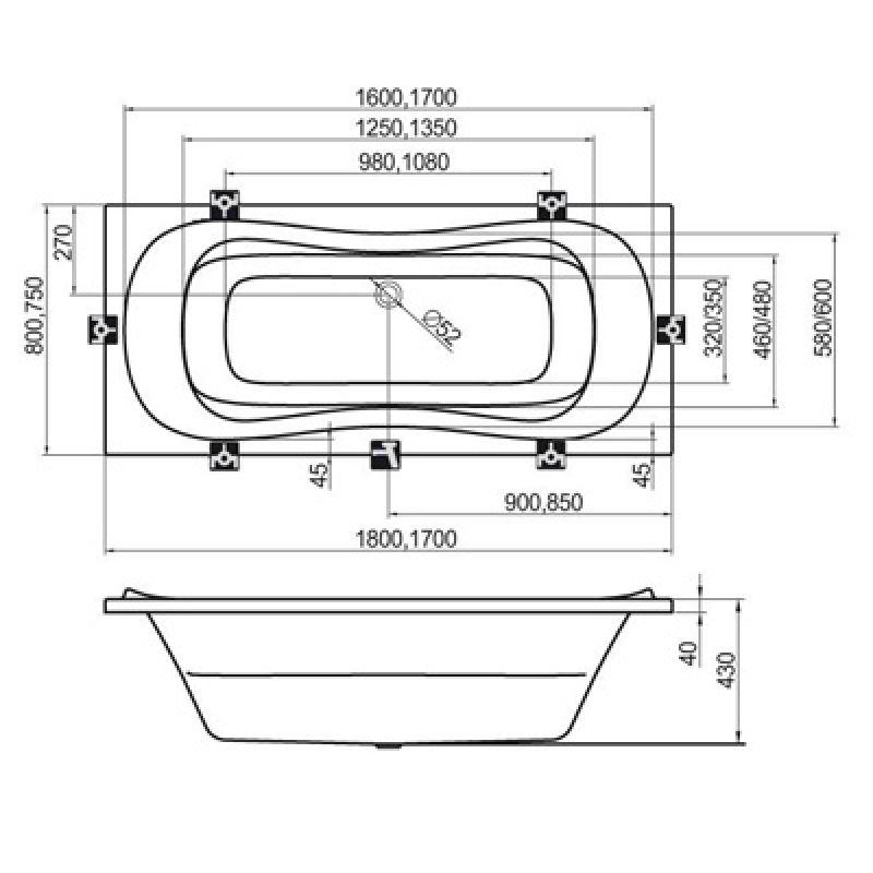 Ванна акриловая 180x80 RAVAK Campanula II (CB21000000), фото 3