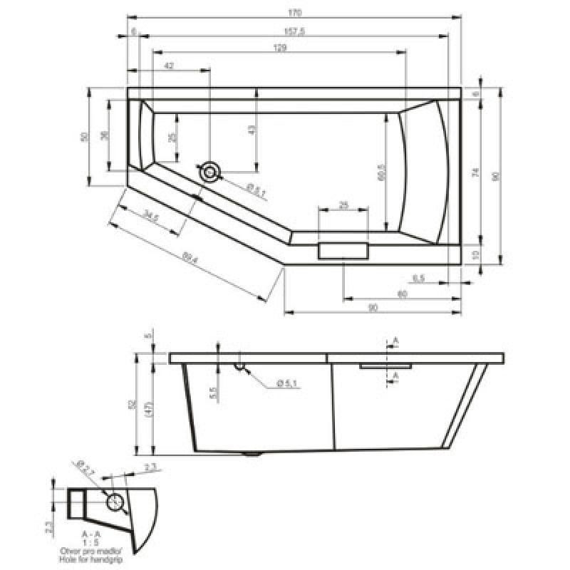 Ванна акриловая левая 170х90 см Riho Geta BA89 BA8900500000000, фото 4