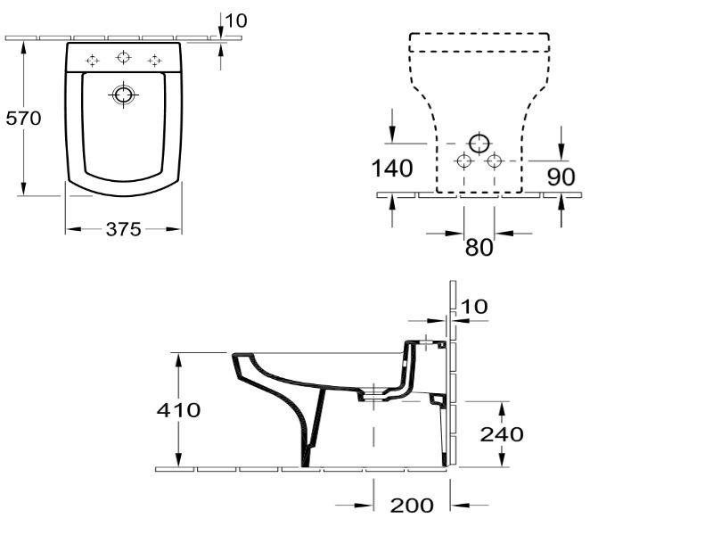 VILLEROY & BOCH BELLEVUE - Биде напольное для 3-позиционного смесителя, со скрытым переливом 5465V101, фото 2